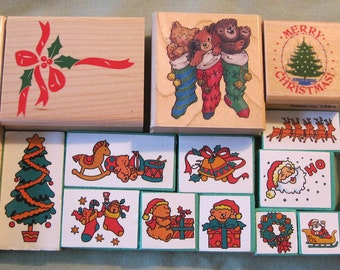 Christmas Holiday Party Rubber Stamps Lot Of 17