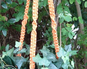 Pumpkin Orange 51 Inch No Beads Macrame Plant Hanger