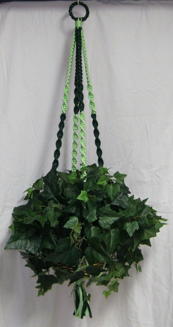 Two Toned Green 48 Inch No Beads  Macrame Plant Hanger