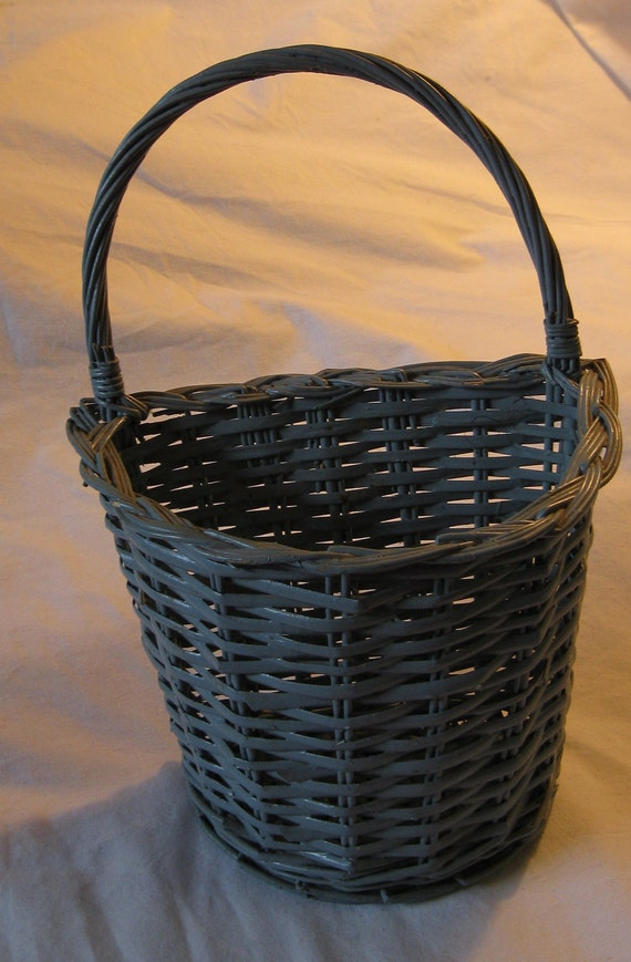 Vintage Blue Wicker Wall Basket With Handle