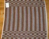Chocolate Brown Corduroy Striped Log Cabin Handwoven Loom Rug