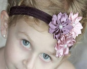 Flower Bow, Satin Flower Bow, Flower Headband, Baby Bow, Baby Headband, Girls Bow, Girls Headband, Girls Flower Headband, Boutique Bow