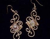 Bronze & Crystal Earrings (dsn-3)