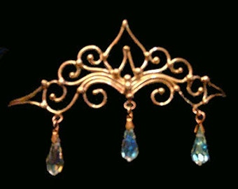 Bronze & Crystal Circlet with three crystals