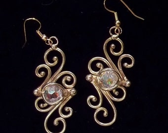 Bronze & Crystal Earrings (dsn-3)