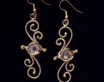 Bronze & Crystal Earrings (dsn-5)