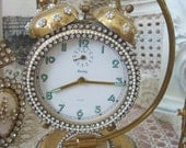 Exquisite Vintage Large Bradley Rhinestones Jeweled Clock Pearls With Stand