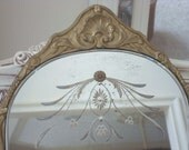 ON LAYAWAY for LISA: Gorgeous Antique Etched Mirror With French Shell Design