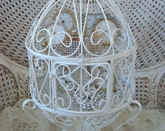 Romantic Homes Magazine May 2012 Unusual Vintage French Style Scrolly Egg Shaped Metal Vitrine Display Cage