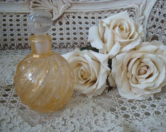Magnificent Vintage Gold Murano Glass Perume Bottle from Italy