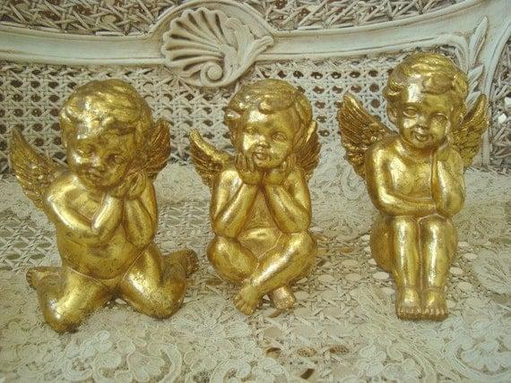 Set of 3 Vintage Cute Cherub Angel Figurines
