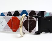 "Argyle Adjustable Dog Collar - 1"" - Medium/Large"