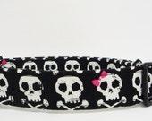 "Skull & Cross Bone with Pink Bows Adjustable Dog Collar - 1"" - Medium/Large"
