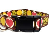 """Peace, Love and Happiness Adjustable Collar - 1"""" - Medium/Large"""