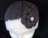 Charcoal Gray Crochet Flower Hat - adult