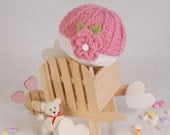 Pink Flowered Crochet Baby beanie - 0 to 4 months
