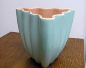 Mod Planter Blue and Pink Three Sided Wavy Vintage Made in USA Mid Century Modern