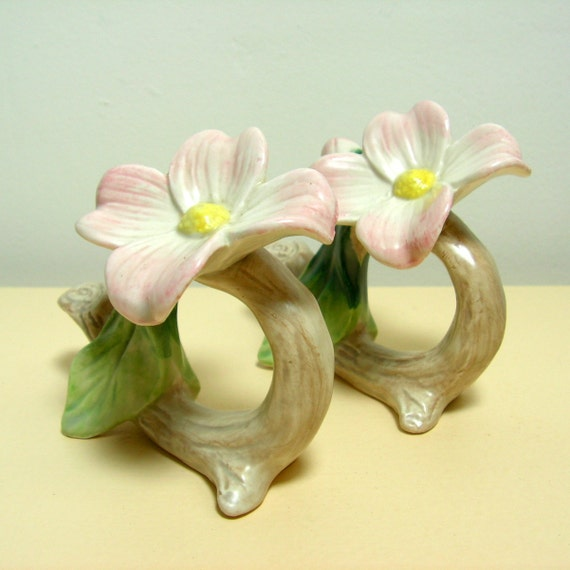 Pink Dogwood Napkin Rings by Fitz & Floyd