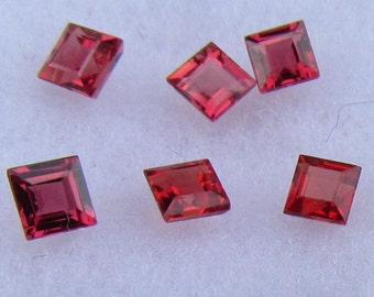 Ceylon Ruby Red Color Square Shape for Earrings July Birthstone