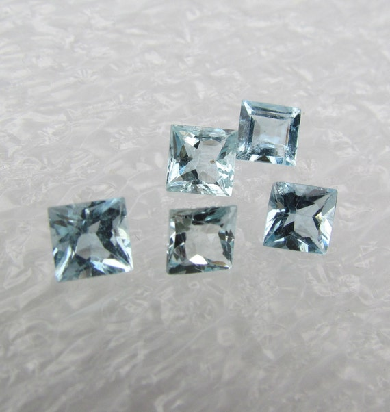 Aquamarine Princess Cut Pairs for Gemstone Jewelry Earrings or Ring March Birthstone
