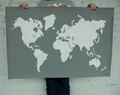 Giant Modern World Map Print Poster - 24x36 - Gray and White