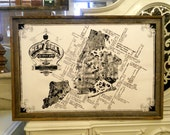 Vintage style New York Pop-Culture Map - 24x36 - White and Black