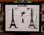 Eiffel tower - Le Tour Eiffel - vintage style poster on 22x28 paper
