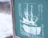 Old Ship Diagram- screen printed POSTER - large 22x28