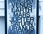 Planets - Our Solar System - hand pulled large screen print 22x28 inch Astronomy Space Poster