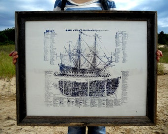 Navy on white - Old Ship Diagram - screen printed Nautical POSTER - large 22x28