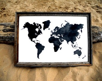 Giant Modern World Map Print Poster - 24x36 - White and Black