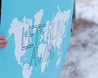 LET'S RUN AWAY Giant Modern World Map Print Poster - 24x36 - Sky Blue and White