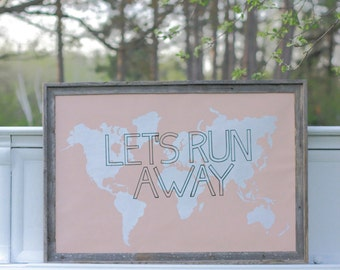 LET'S RUN AWAY Giant Modern World Map Print Poster - 24x36 - peach champagne pink