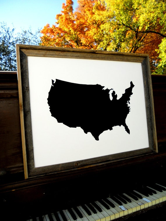 """LARGE modern United States Lower 48 State Map Poster hand-pulled screen print  22""""x28"""""""
