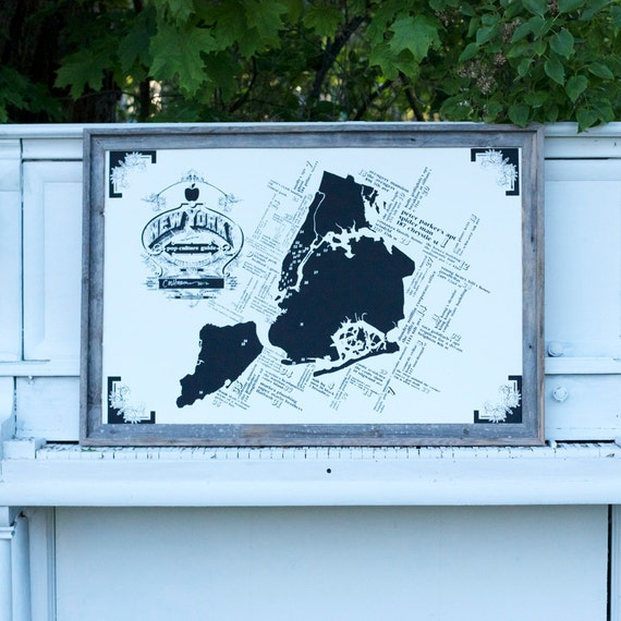 Modern New York Pop-Culture Map - 24x36 - White and Black