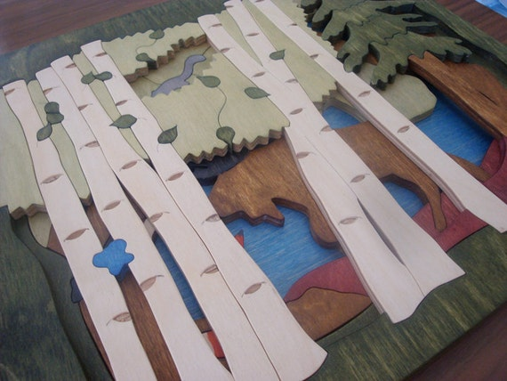 Two Layer, Wooden Tray Puzzle - On the Forest's Edge (Birch)