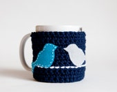 Blue Mug Cozy - Bird Mug Cozy - Blue Cup Cozy