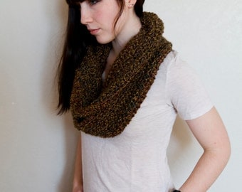 Chunky Cowl Scarf - 50% OFF SALE - Cowl Scarf - Brown Cowl Scarf - Brown Circle Scarf
