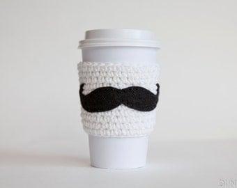 Mustache Coffee Sleeve - Reusable Mustache Coffee Sleeve