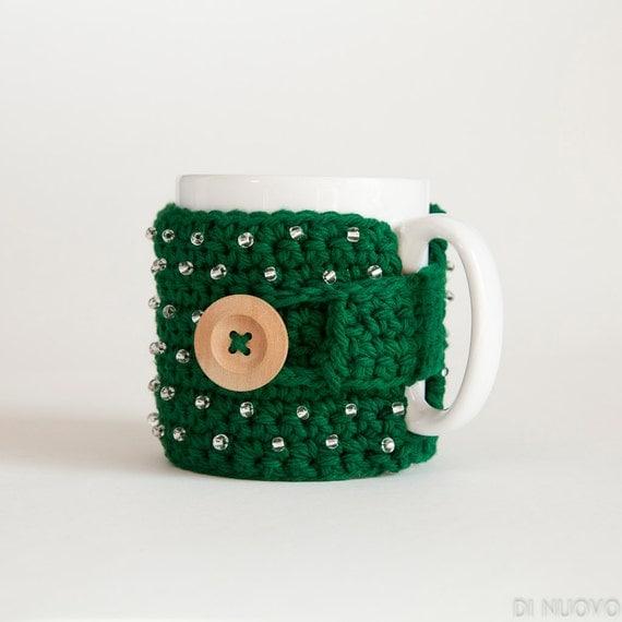 Christmas Mug Cozy Green Holiday - Made to Order