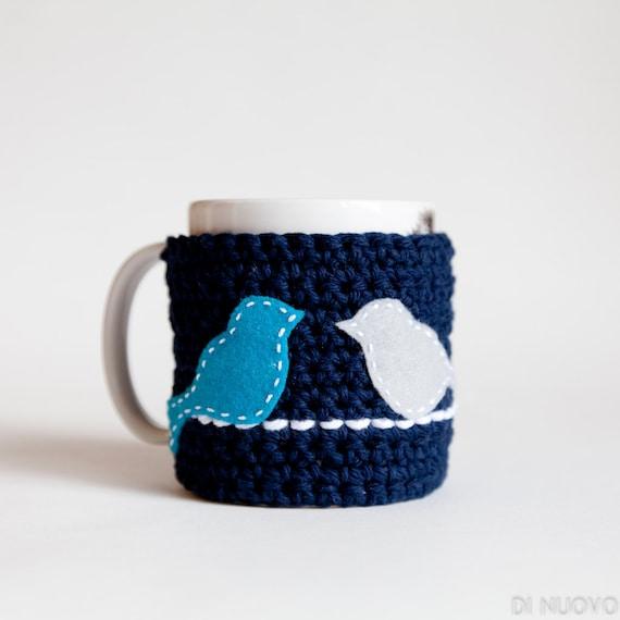 Blue Mug Cozy - Bird Mug Cozy - Blue Cup Cozy