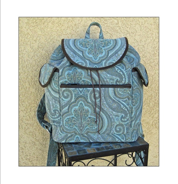 Blue Paisley Backpack with Canvas Lining - Ready to Ship