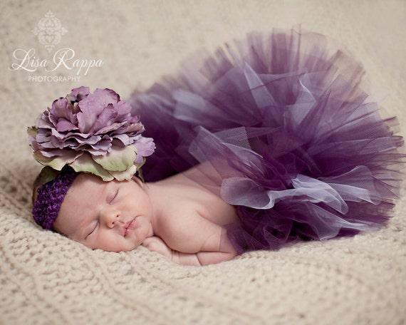 Ready to ship - Newborn Baby Photo Prop Plum Tutu Set