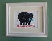 Children's Art, Black Elephant Painting, Original Design of Ellafantastic, 5x7 print