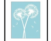 Dandelion Wish - 8 x 10 Whimsical Floral Print - Sky Blue and White