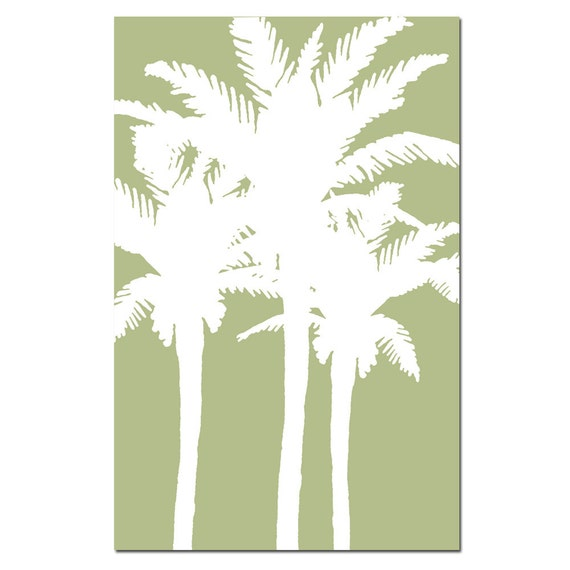 Wall Art - Modern Palm - 13x19 Palm Tree Silhouette Print - Choose Your Colors - Shown in Sage Green and White