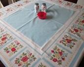 Vintage Kitchen Tablecloth Cherry Strawberry Fruit Pale Blue Cotton Folk Art Dutch