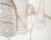 Kitchen Apron Child Girl Soft Pink Pure White Eyelet Lace French Shabby Cottage Fine Linens