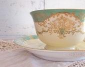 Vintage Bone China Teacup Noritake Japan Apple Green Cream Gold White Shabby Cottage French Cottage Decor