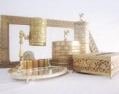 Mid Century Vanity Set Gilt Gold Filigree Lipstick Mirror Cherub Bathroom Art Nouveau French Cottage Shabby Chic Instant Collection